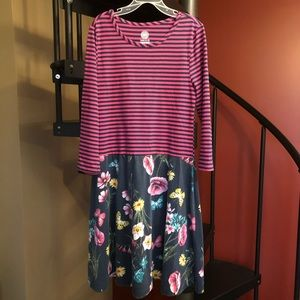 Girls Striped Floral Dress
